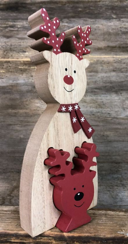 Cute Wooden Jigsaw Christmas Mantel Ornament - Reindeer